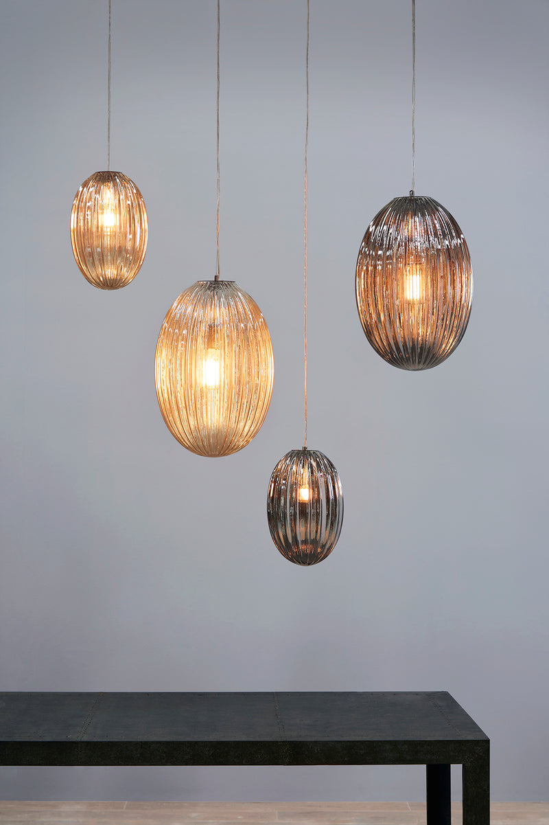 Costolette Small - Smoke Grey - Small Ribbed Glass Pod Pendant Light