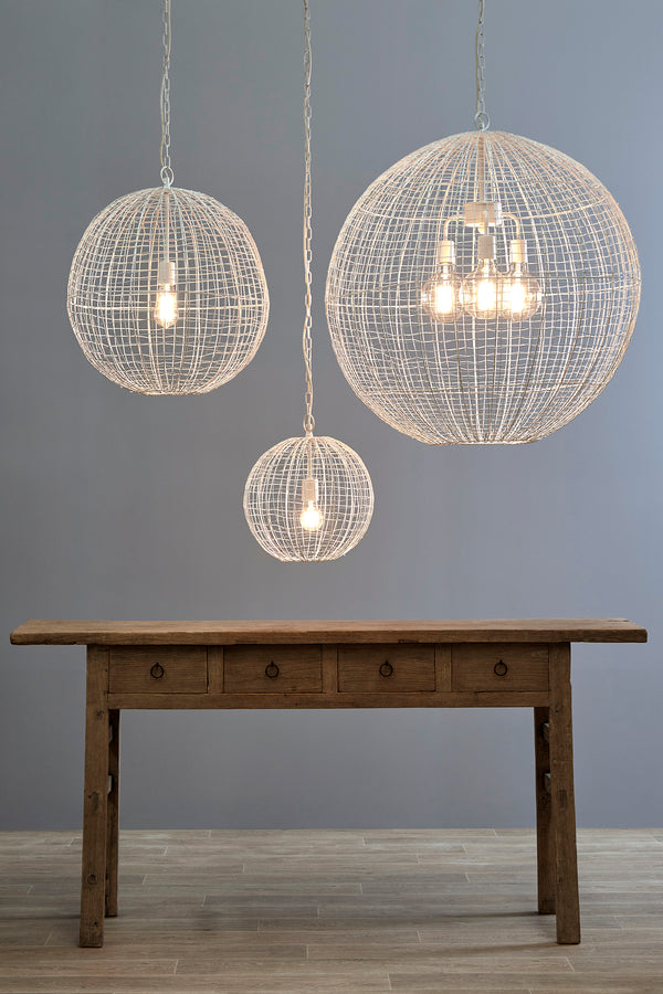 Cray Ball Small - White - Wire Weave Ball Pendant Light