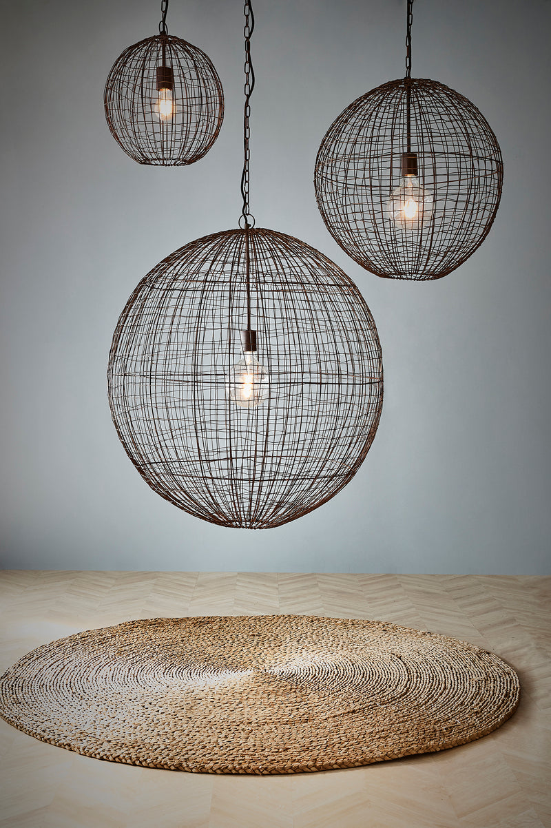 Cray Ball Medium - Antique Copper - Wire Weave Ball Pendant Light