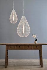 Cray Pot Small - White - Wire Weave Teardrop Pendant Light