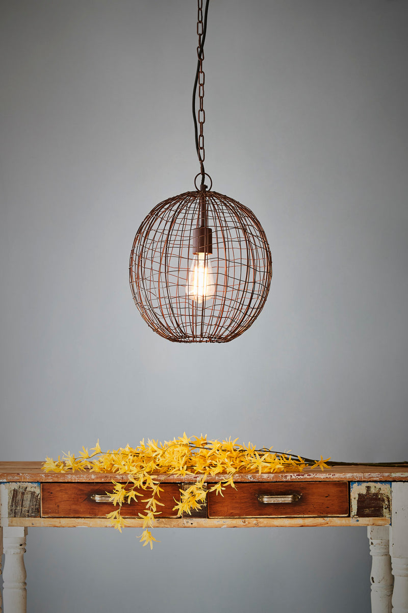 Cray Ball Small - Antique Copper - Wire Weave Ball Pendant Light