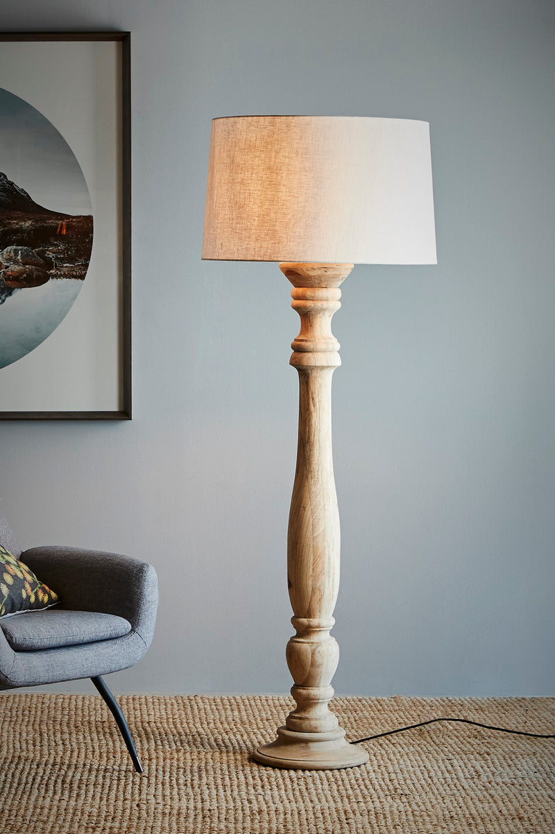 Candela Large - Natural - Turned Wood Candlestick Floor Lamp