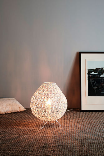 Cocoon Table Medium - White - Wire Weave Oval Table Lamp