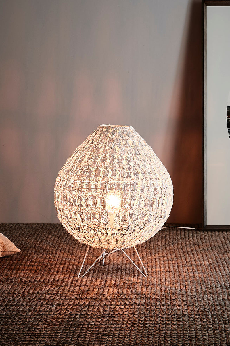 Cocoon Table Large - White - Wire Weave Oval Table Lamp