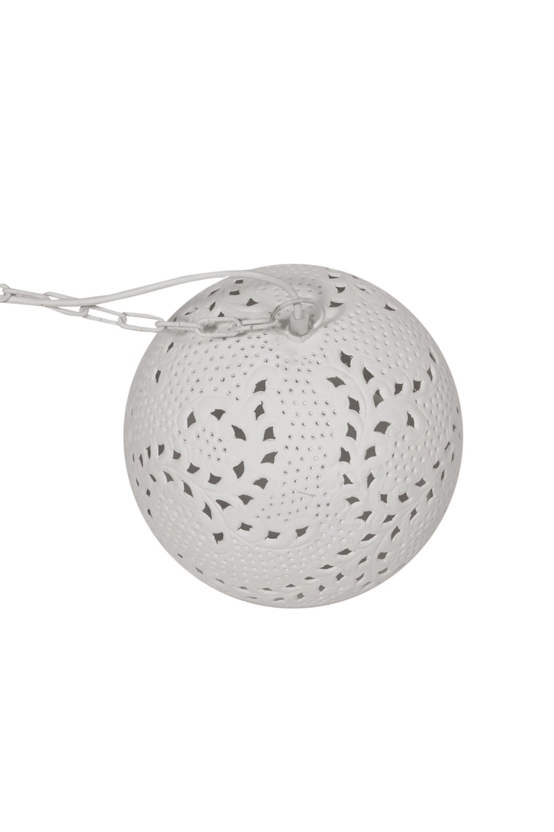 Coral Small - White - Hand Cut Patterned Dome Pendant Light
