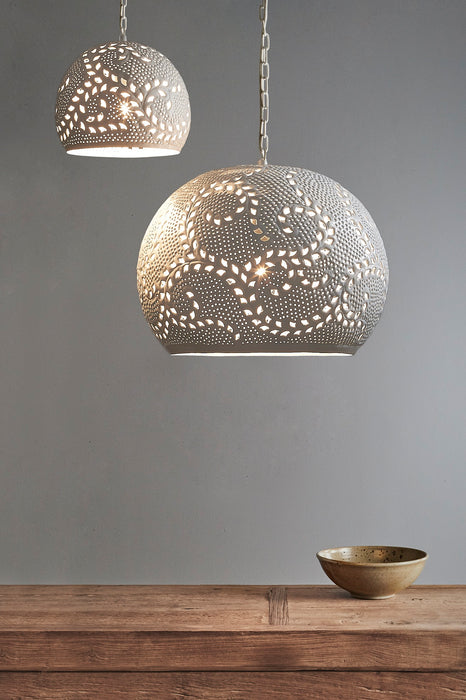 Coral Large - White - Hand Cut Patterned Dome Pendant Light
