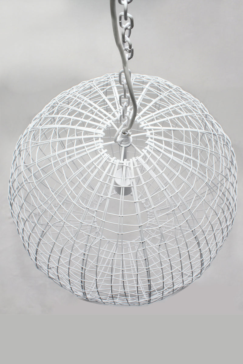 Cray Ball Medium - White - Wire Weave Ball Pendant Light