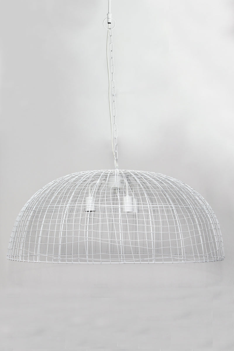 Cray Dome - White - Wire Weave Dome Pendant Light