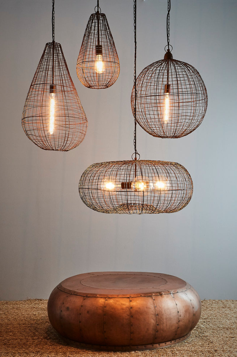 Cray Pot Small - Antique Copper - Wire Weave Teardrop Pendant Light
