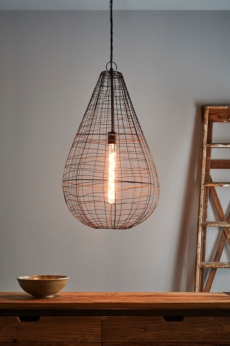 Cray Pot Large - Antique Copper - Wire Weave Teardrop Pendant Light