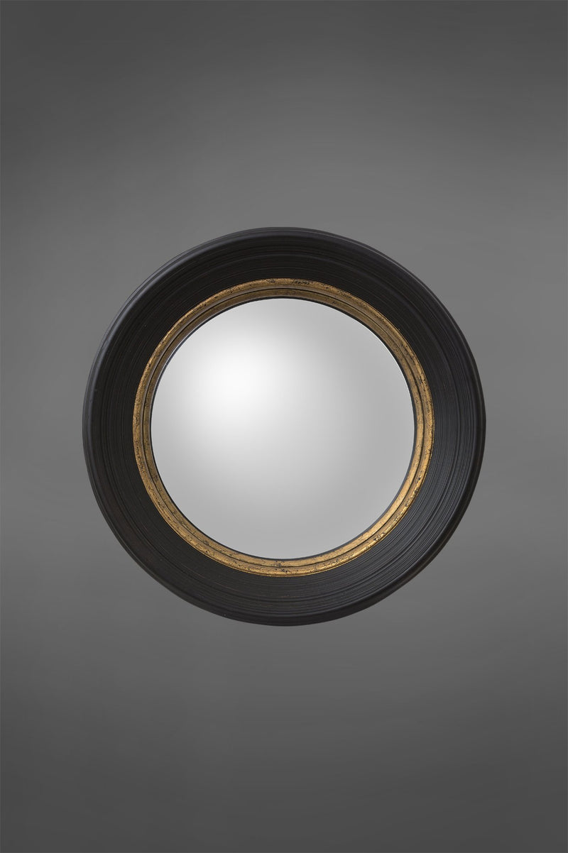 London - Black/Gold - 65cm Diameter Convex Wood Framed Circular Mirror