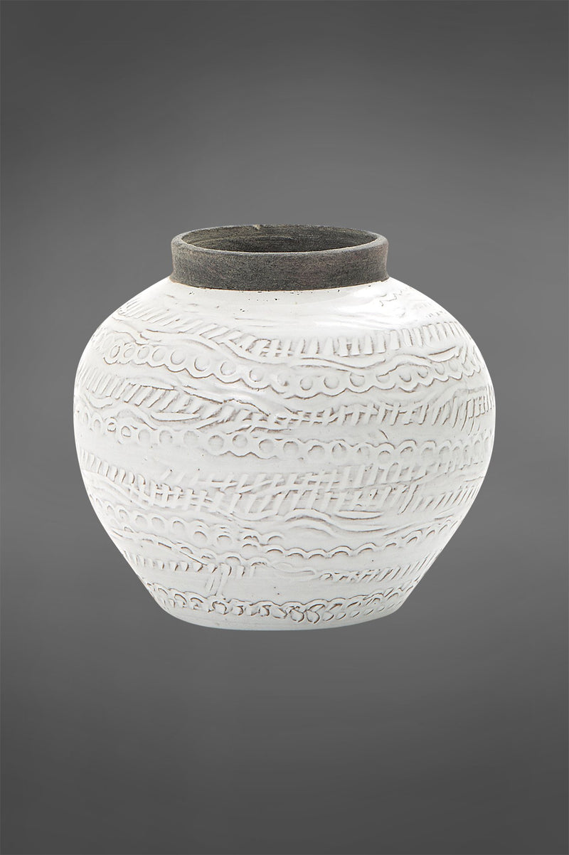 Shaka Vase Small - White/Grey - 12cm Tall Glazed Embossed Ceramic Vase