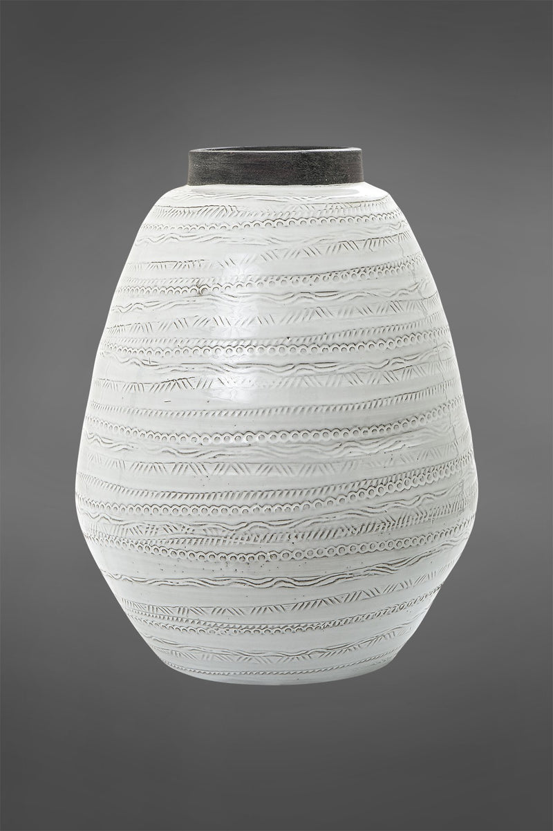 Shaka Urn Large - White/Grey - 40cm Tall Glazed Embossed Ceramic Urn