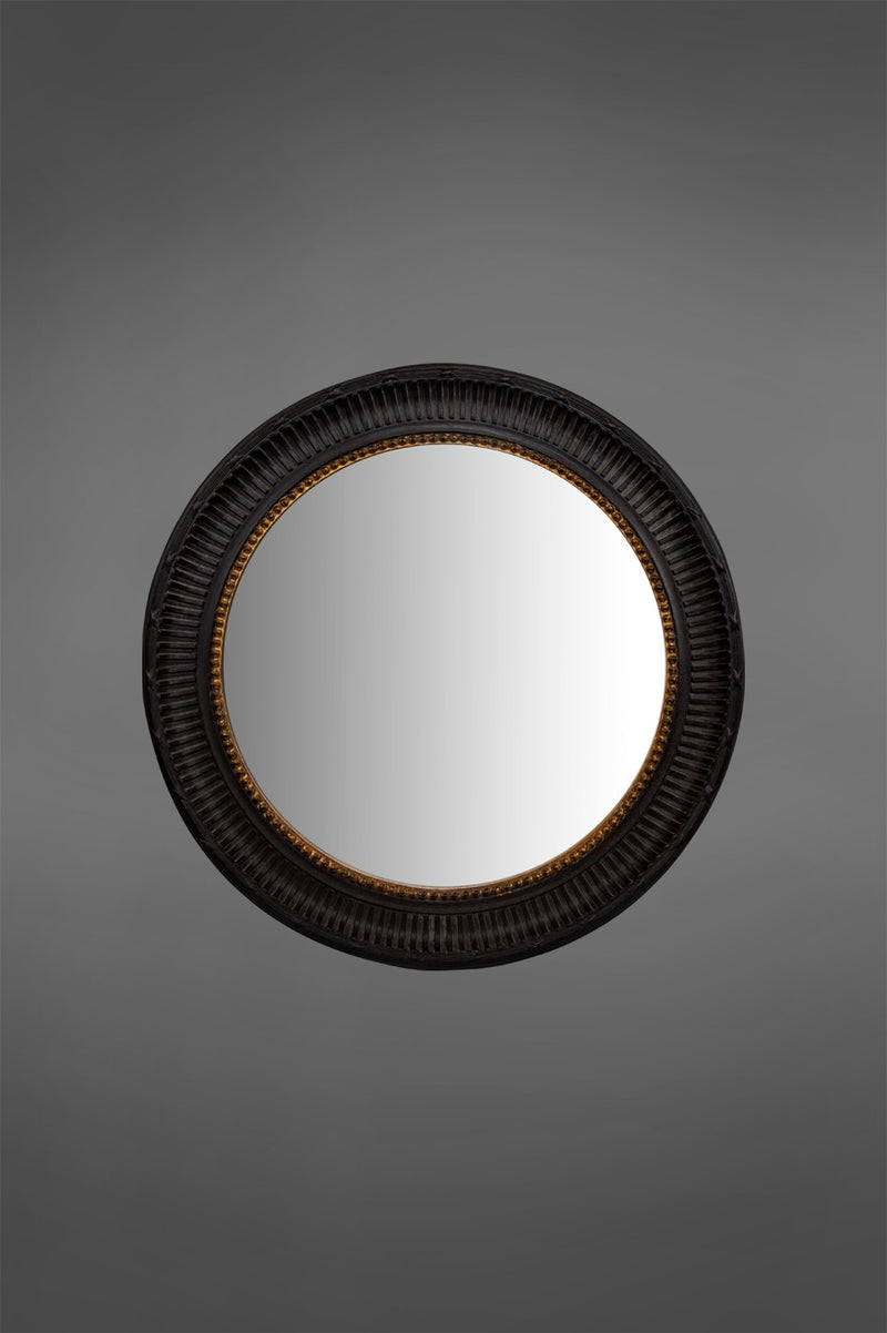 Survey - Black - 95cm Diameter Wood Framed Circular Mirror