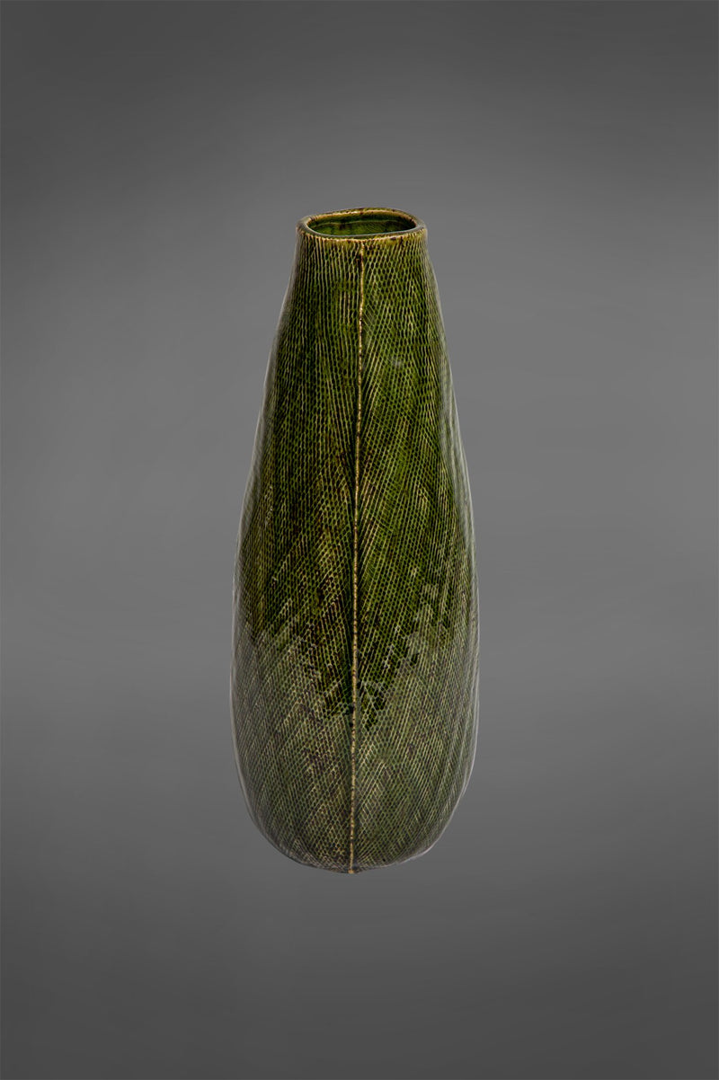 Lena Tall - Dark Green - 40cm Tall Patterned Glazed Ceramic Vase