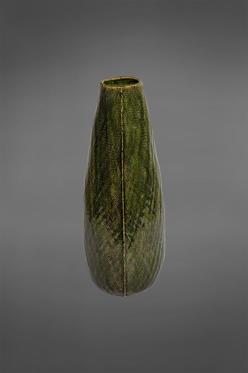 Lena - Dark Green - 20cm Tall Patterned Glazed Ceramic Vase