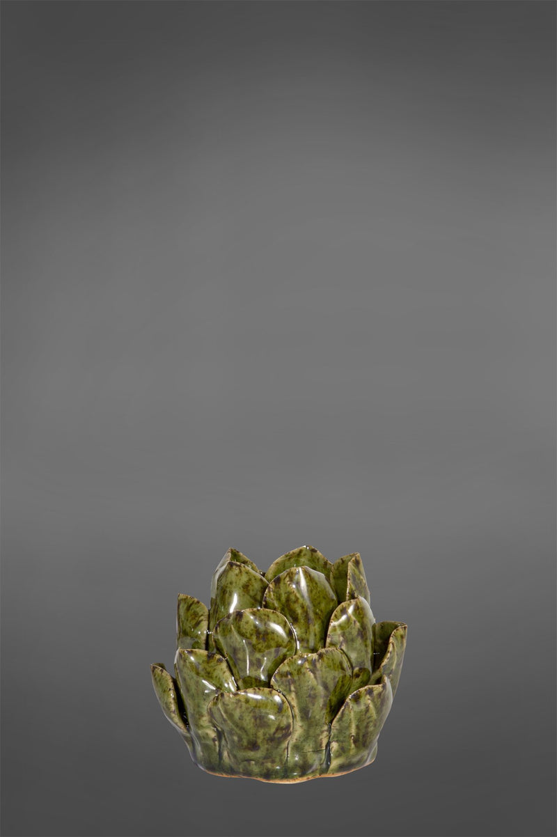 Lena Tealight Small - Dark Green - Ceramic Artichoke Tealight Holder