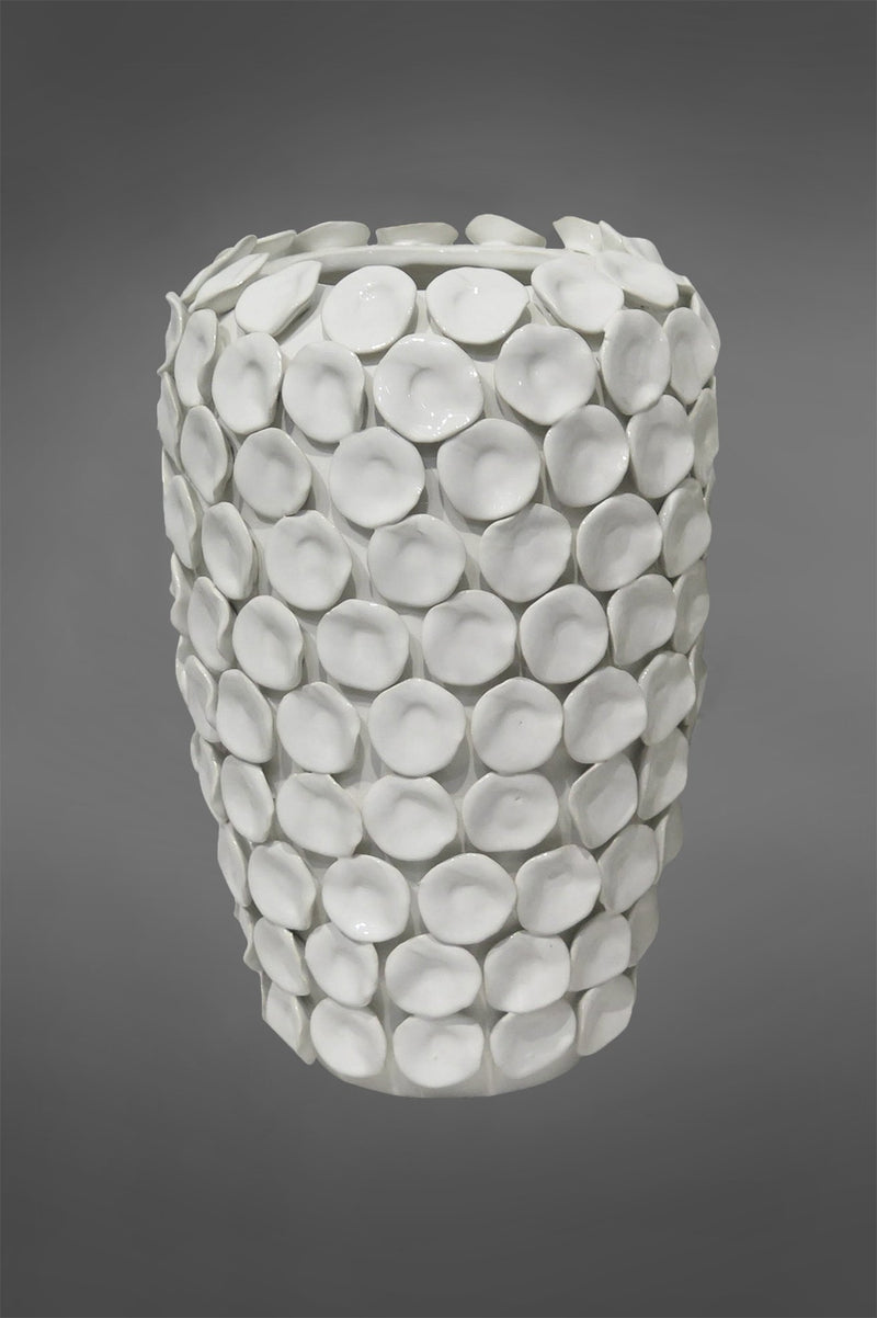 Lena Ocean Large - White - 34cm Tall Glazed Ceramic Vase With Individual Ceramic Disks