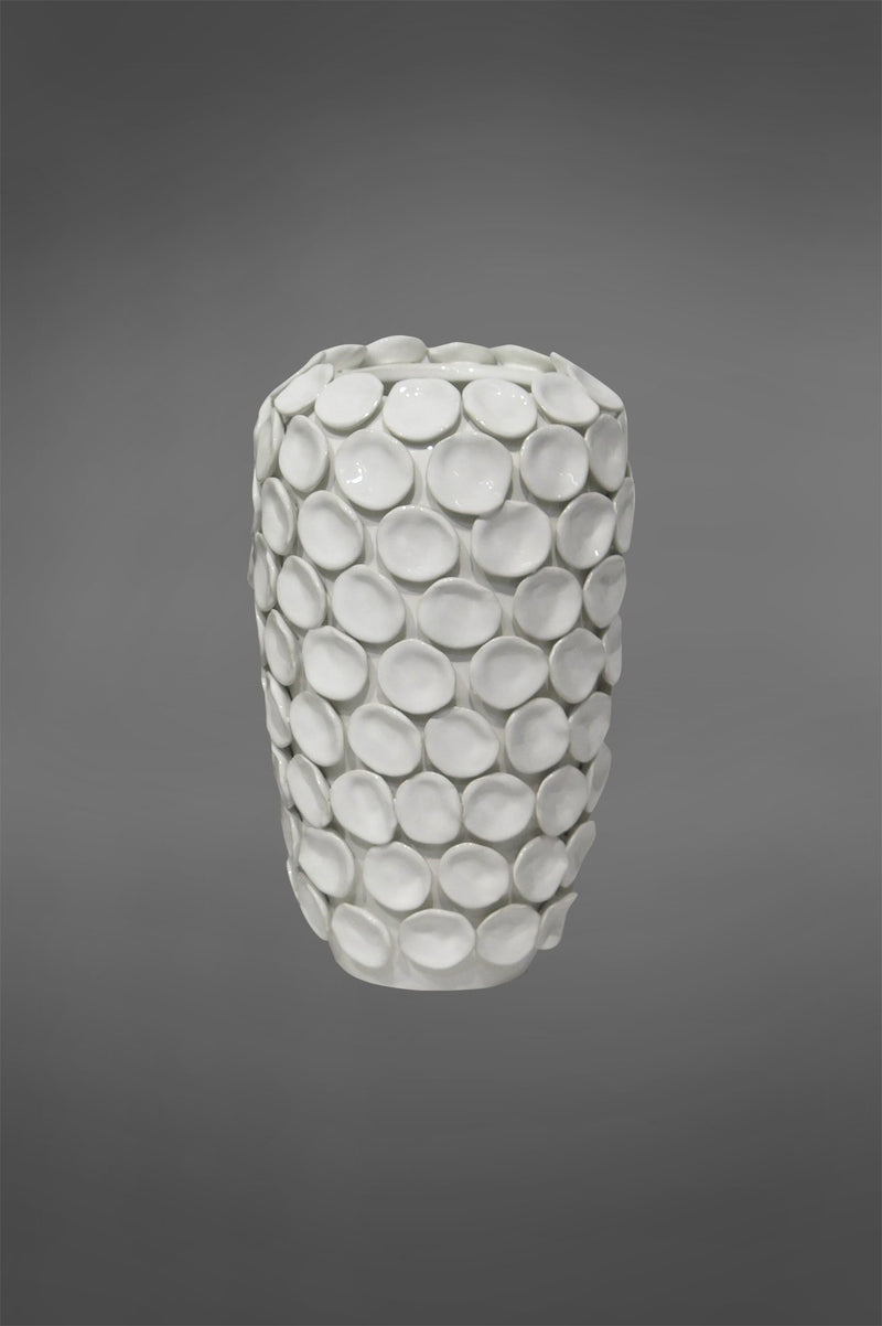 Lena Ocean - White - 30cm Tall Glazed Ceramic Vase With Individual Ceramic Disks