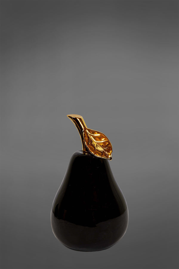 Gloss Pear Small - Black/Gold - Glazed Ceramic Decorative Pear