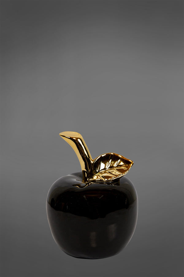 Gloss Apple Large - Black/Gold - Glazed Ceramic and Metal Decorative Pear