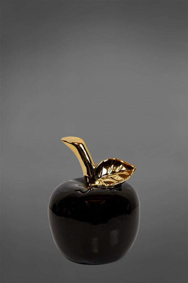 Gloss Apple Small - Black/Gold - Glazed Ceramic and Metal Decorative Pear