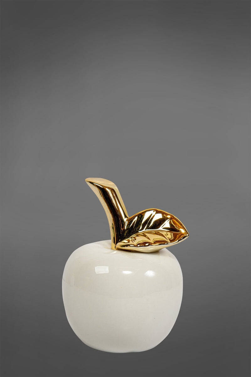 Gloss Apple Small - White/Gold - Glazed Ceramic and Metal Decorative Pear