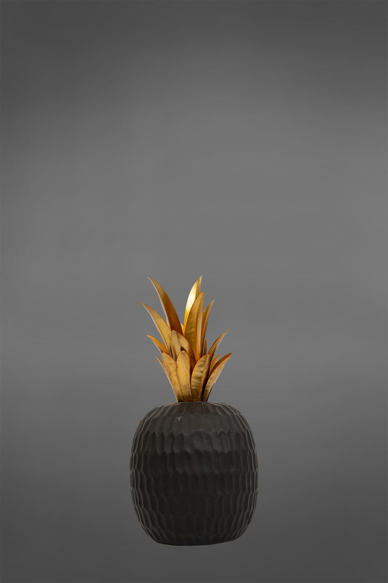 Gilded Pineapple Large - Black/Gold - Ceramic and Metal Decorative Pineapple