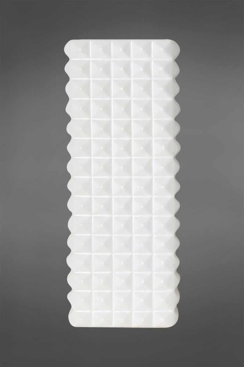 Abstract Tall - White - 39cm Tall Rectangular Diamond Patterned Ceramic Vase