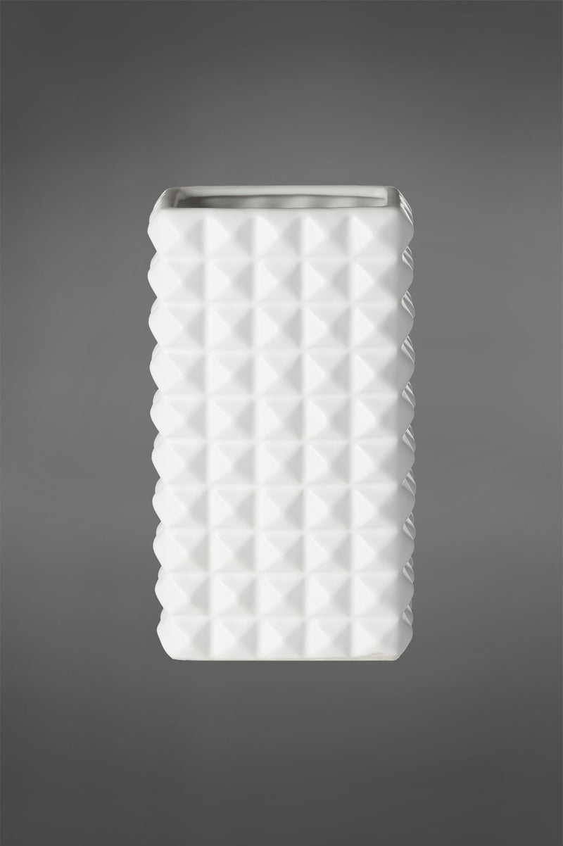 Abstract - White - 29cm Tall Rectangular Diamond Patterned Ceramic Vase