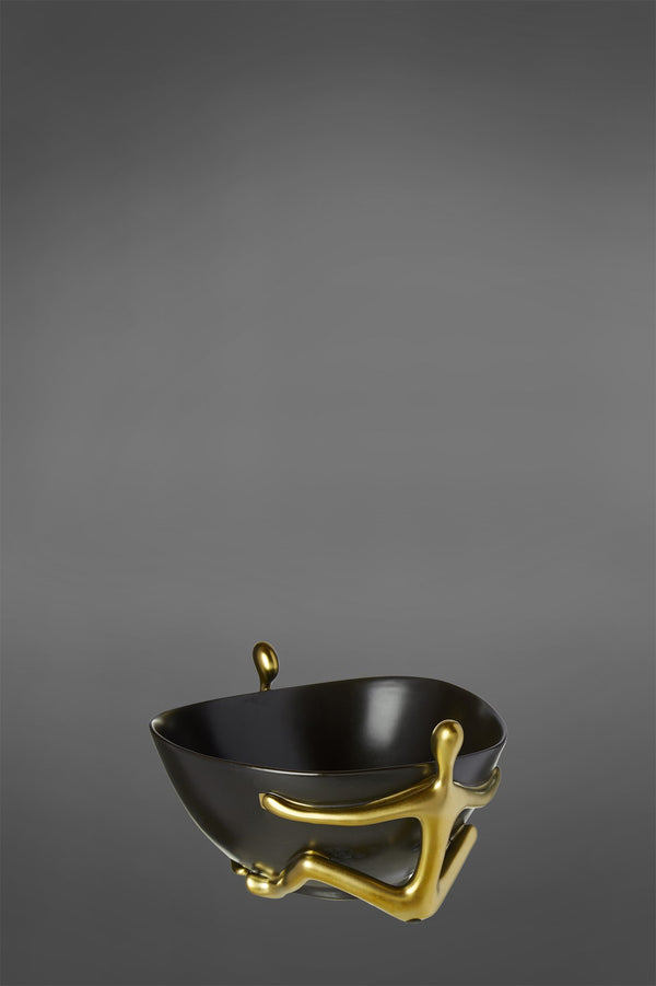 Modern Man - Black/Gold - Ceramic Bowl with Decorative Handles