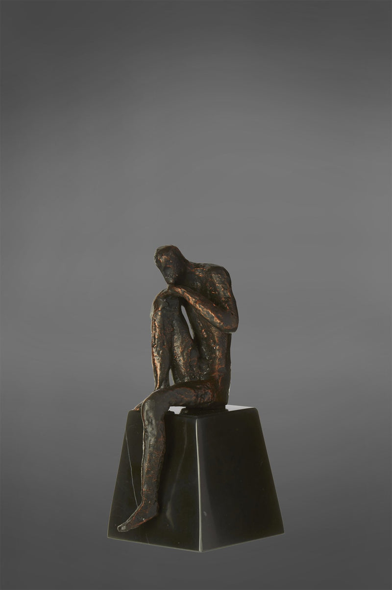 Thinking Man - Bronze/Black - Metal and Marble Sculpture