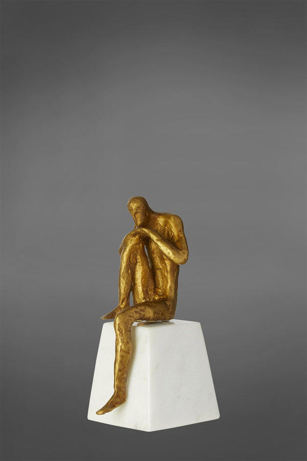 Thinking Man - Gold/White - Metal and Marble Sculpture
