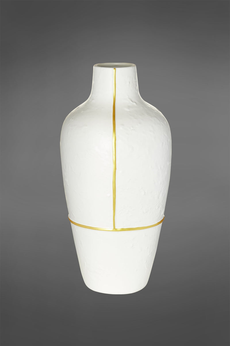 Pharaoh Large - Gold/White - 55cm Tall Ceramic Vase with Gold Accent