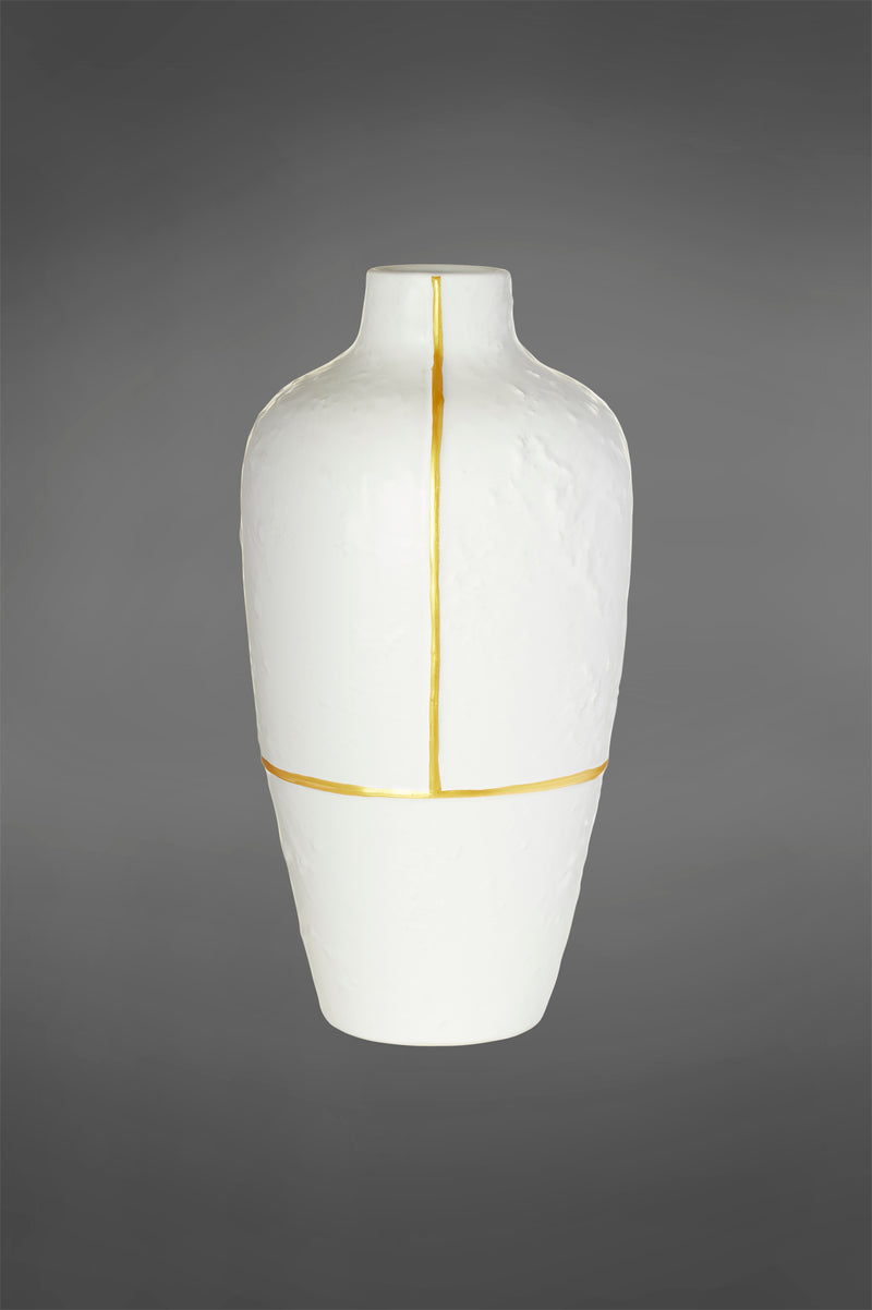 Pharaoh Small - Gold/White - 45cm Tall Ceramic Vase with Gold Accent
