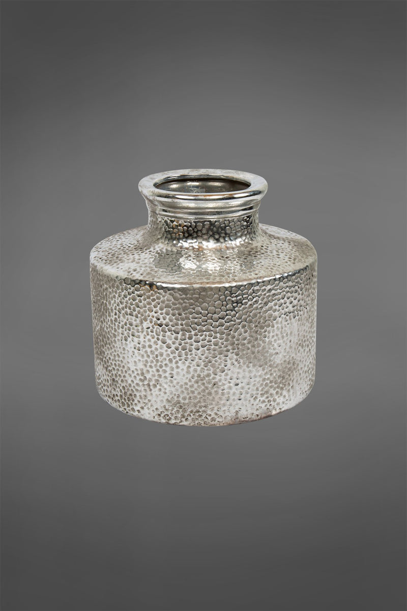Mercury Bottle - Silver - 21cm Tall Dimpled Glazed Ceramic Vase