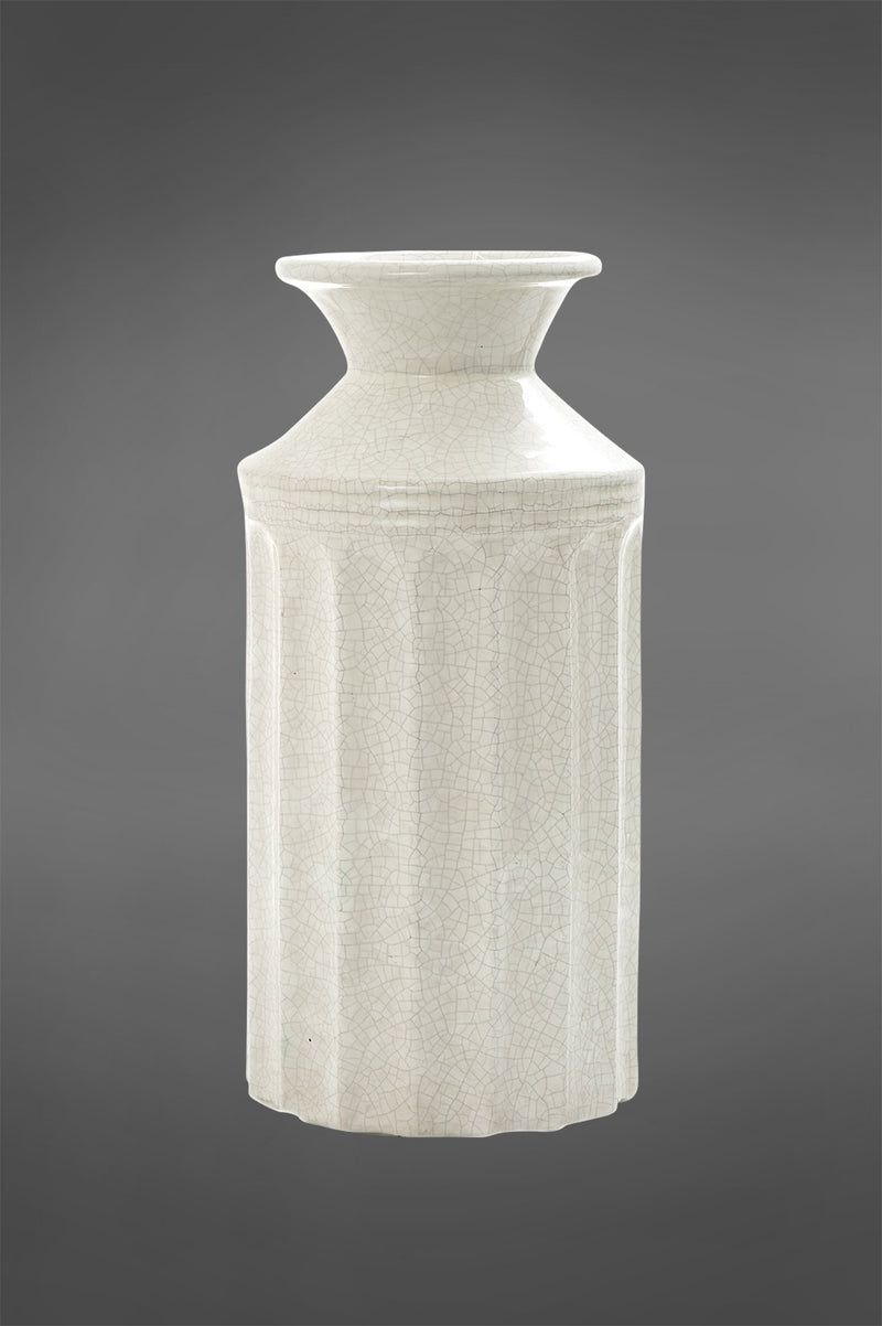 Vanilija Large - White - 33cm Tall Fluted Crackle Glazed Ceramic Vase