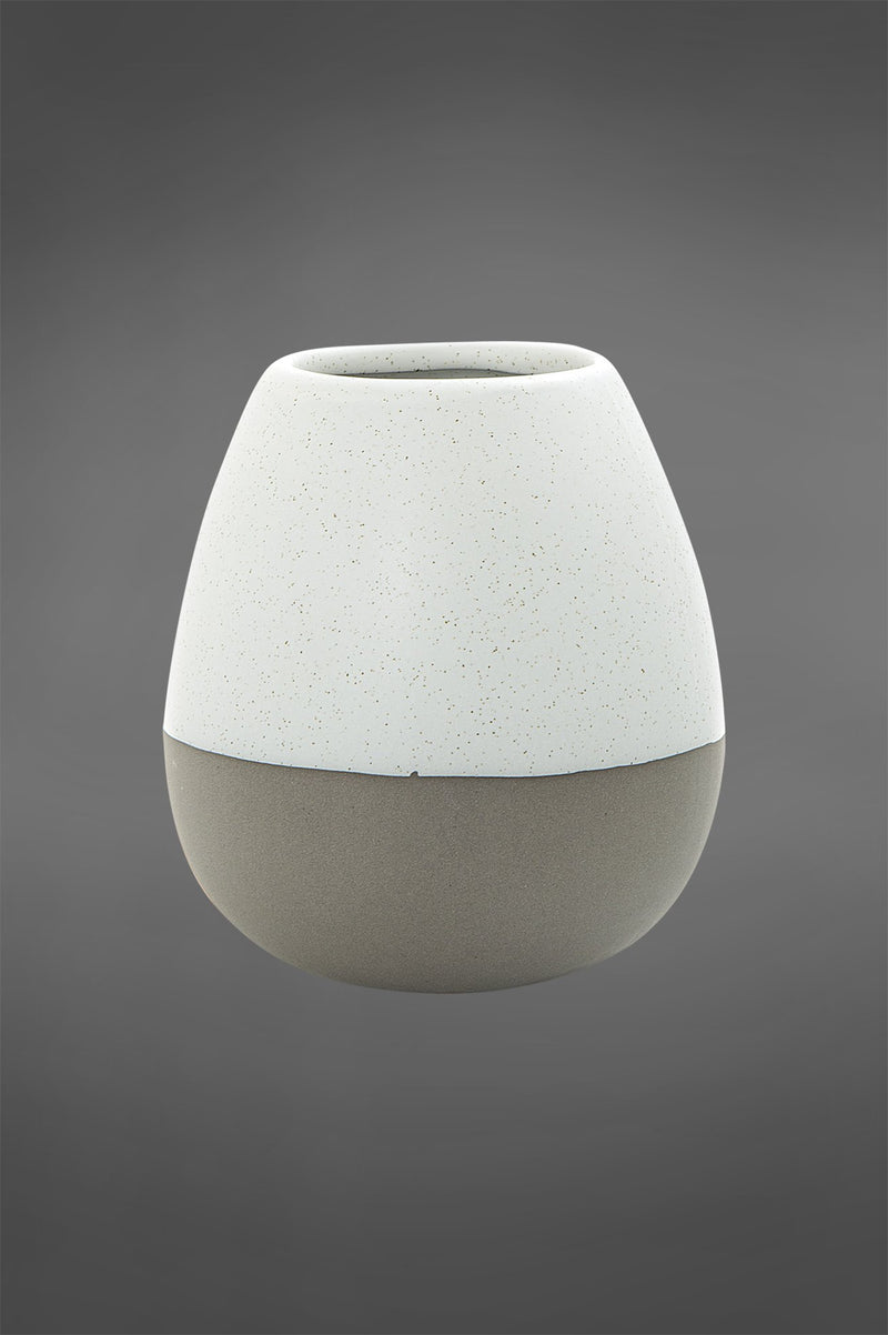 Lubon - Light Grey/Dark Grey - 13cm Tall Matte Glazed Ceramic Vase