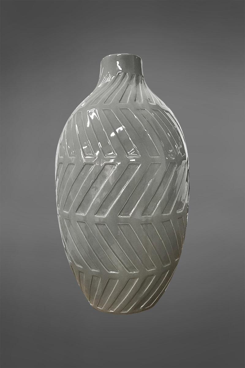 Geo Small - Grey - 50cm Tall Glazed Ceramic Vase with Geometric Pattern