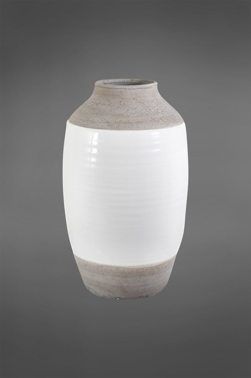 Colorado Large - White/Grey - 51cm Tall Two-Tone Glazed Ceramic Vase