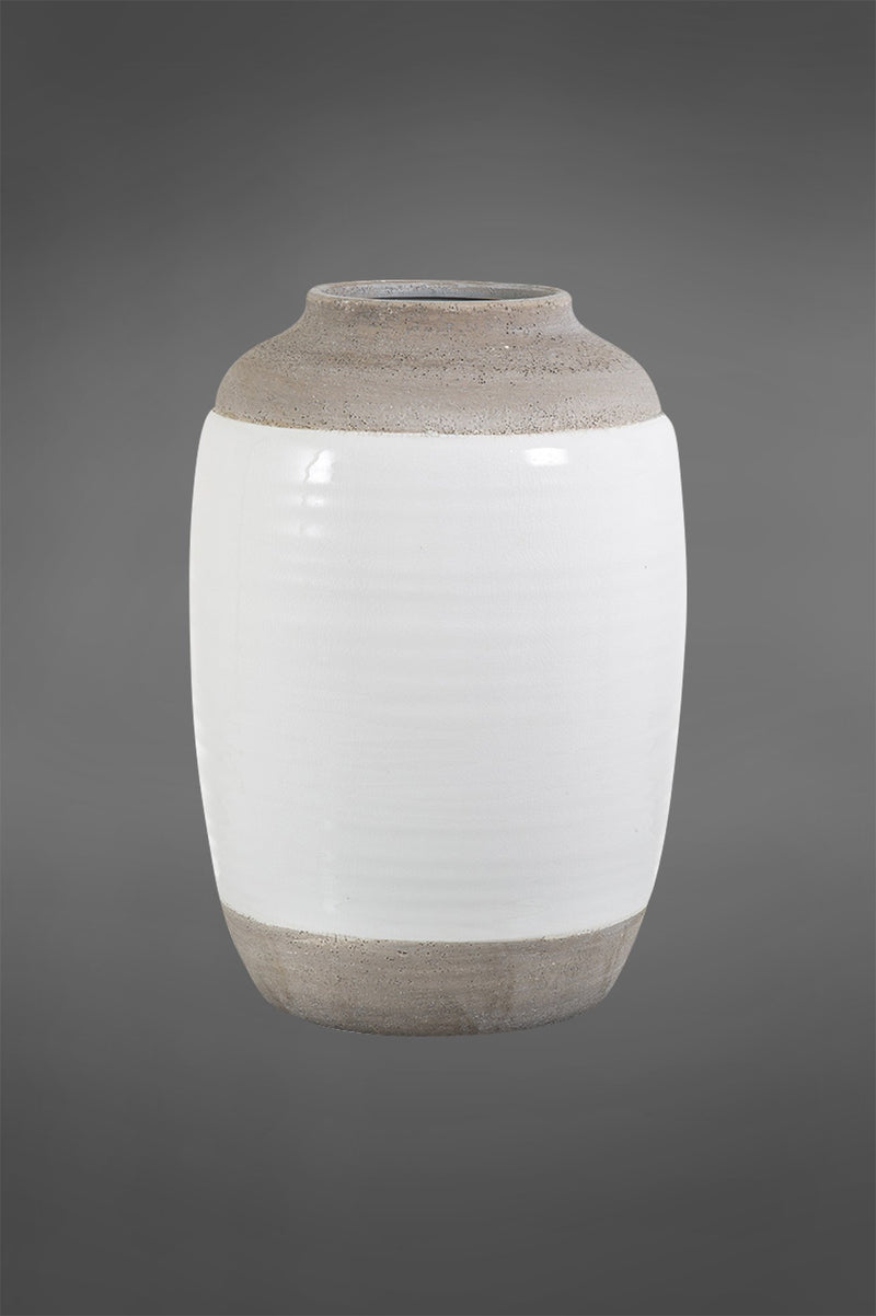 Colorado Medium - White/Grey - 34cm Tall Two-Tone Glazed Ceramic Vase