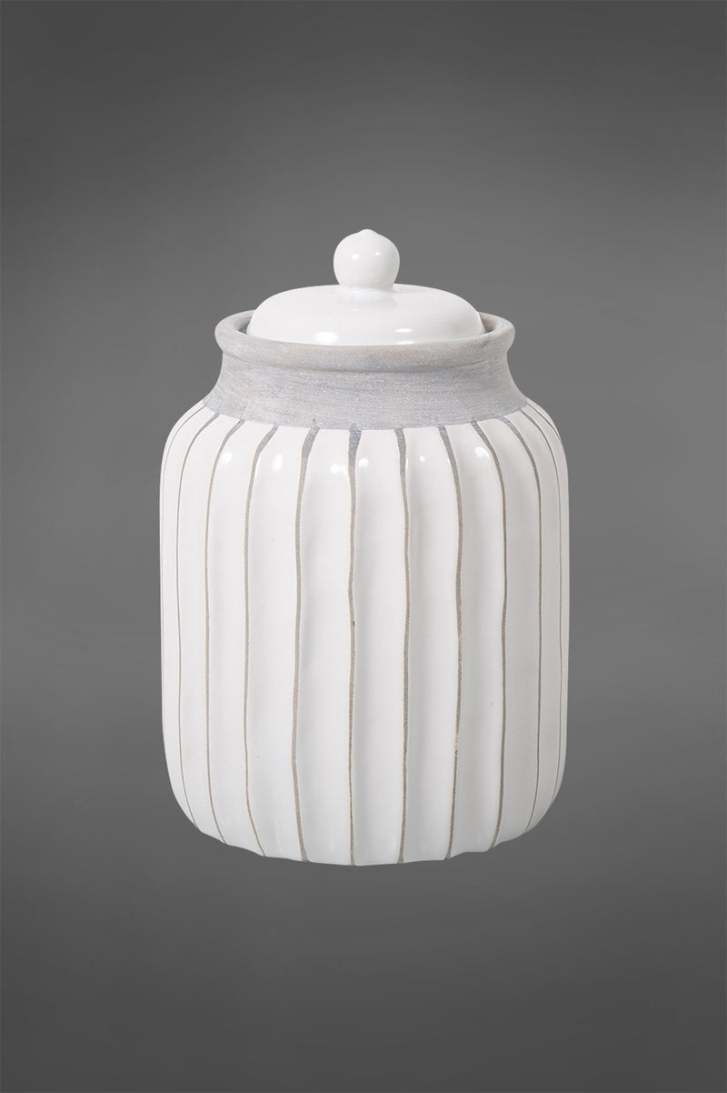 Tennessee - White/Light Grey - 21cm Tall Ridged Glazed Ceramic Jar with Lid