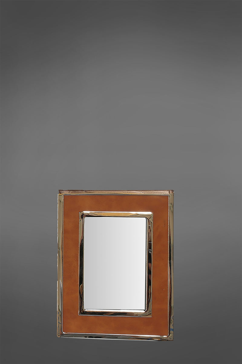 Verona Photoframe Small - Tan/Shiny Nickel - Rectangular Leather Photo Frame With Nickel Edging