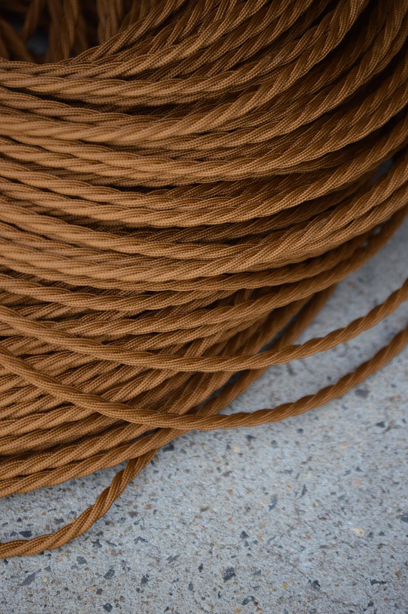 Braided Twisted Fabric Electrical Cord - Antique Gold