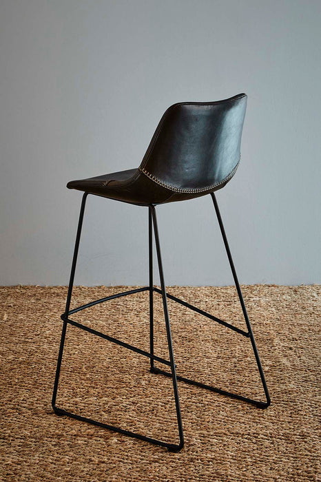 Don Bar Stool - Brown/Black - Buffalo Leather Upholstered Bar Stool