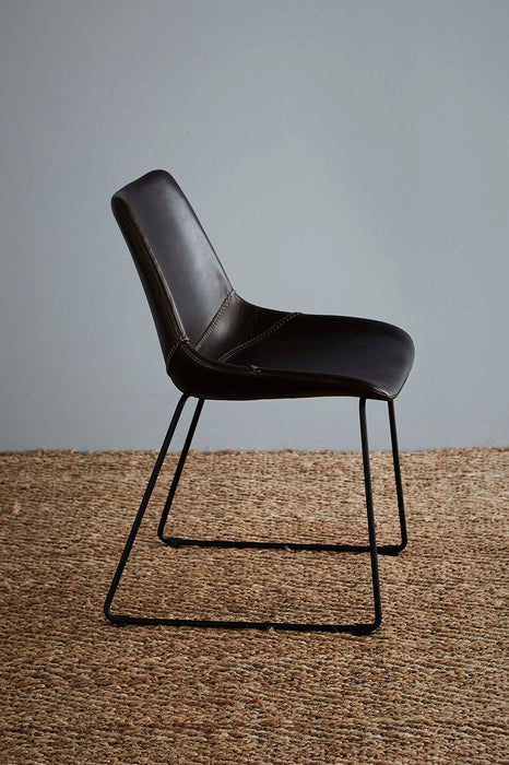 Don Chair - Brown/Black - Buffalo Leather Upholstered Chair