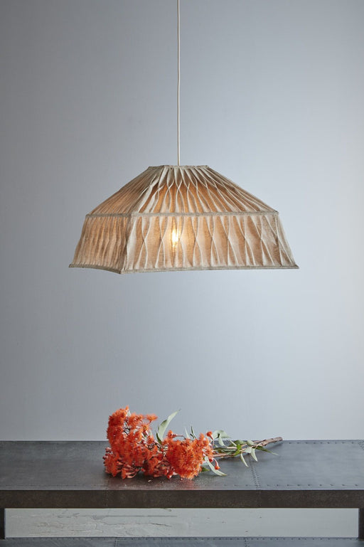 Dutchess - Natural - Pleated Square Linen Pendant Light