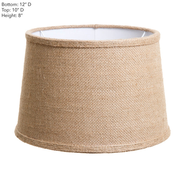 Small Drum Lamp Shade (12x10x8 H) - Jute - Jute Lamp Shade and B22 Fixture