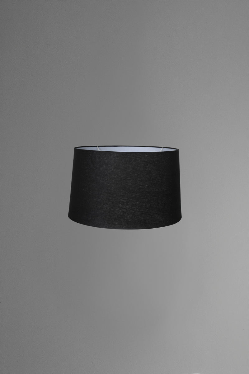 Medium Drum Lamp Shade (14x12x9.5 H) - Black with Silver Lining - Linen Lamp Shade with B22 Fixture