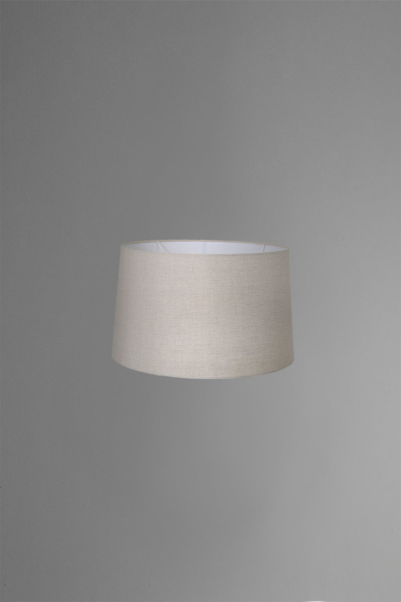 Medium Drum Lamp Shade (14x12x9.5 H) - Dark Natural Linen - Linen Lamp Shade with E27 Fixture